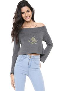 Blusa Cropped Hurley Sets Grafite