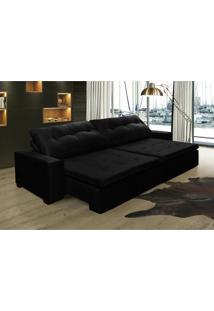 Sofá Retrátil, Reclinável Oklahoma 2,32M Com Molas E Pillow No Assento Tecido Suede Preto Cama Inbox