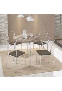 Mesa 1504 Nogueira Cromada Com 4 Cadeiras 1700 Camurça Conhaque Carraro