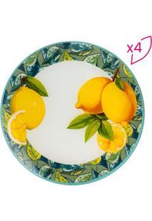 Jogo De Pratos Rasos Lemons- Branco & Amarelo- 4Pã§S