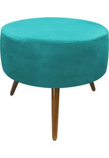 Puff Decorativo Sofia Redondo Suede Azul Tiffany - D'Rossi