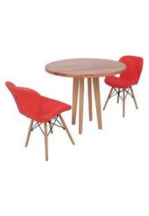 Conjunto Mesa De Jantar Em Madeira 90Cm Com Base Vértice + 2 Cadeiras Slim - Vermelho