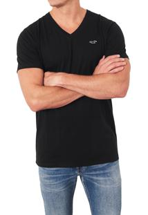 Camiseta Manga Curta Hollister Básica Preta