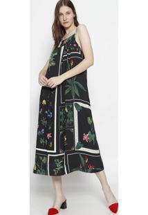 Vestido MãDi Floral Com Linho - Preto & Verdeosklen