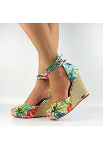 Sandália Antônia Domingues Anabela Feminina - Feminino-Estampado