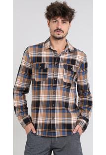 Camisa Masculina Estampada Xadrez Com Bolsos Em Flanela Manga Longa Caramelo