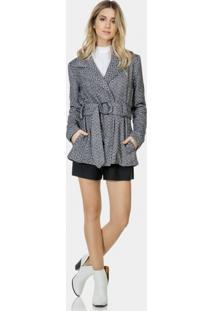 Casaco Tecido Tweed Com Cinto Preto Reativo - Lez A Lez