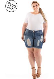 4ffbff367 R$ 149,90. Dafiti Short Feminino Jeans Destroyed Plus Size Estampado  Boyfriend ...