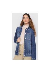 Jaqueta Jeans Calvin Klein Jeans Trucker Bordada Azul