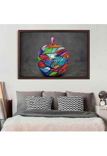 Quadro Com Moldura Colored Apple Madeira Escura - Médio