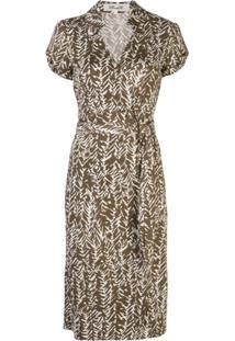 Dvf Diane Von Furstenberg Abstract Print Wrap Dress - Marrom