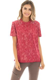 T-Shirt La Mandinne Estonada Pérolas Vermelha