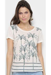 Camiseta Acostamento Resort Feminina - Feminino-Bege+Verde