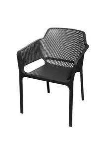 Cadeira Net Nard Empilhavel Polipropileno Com Braco Cor Preta - 53567 Preto