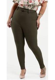 Calça Feminina Canelada Cinto Plus Size