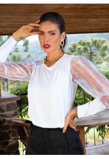 Blusa Branca Mangas Bufantes Com Transparência