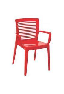 Cadeira/ Poltrona Com Braço Tramontina Victoria Vermelha Vermelho
