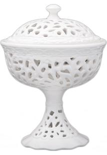 Bomboniere Com Base 15Cm Porcelana Rendada Bom Gourmet Branco