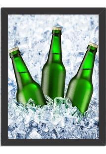 Quadro Decorativo Garagem Cerveja No Gelo Preto - Grande