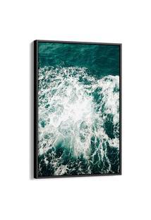 Quadro 90X60Cm Paisagem Mar Ondas Praias Nadur Canvas Moldura Flutuante Preta
