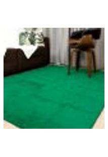 Tapete Sala Ou Quarto Peludo Pelo Baixo 1,50X2,00: Verde