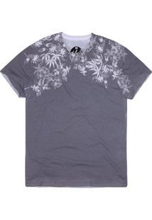 Camiseta Masculina Floral Grafite