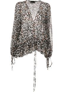 Ermanno Ermanno Blusa Com Amarração No Punho E Estampa De Leopardo - Branco
