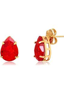 Brinco Gota Com Pedra Fusion Vermelha Folheado Em Ouro 18K - 2180000000906