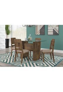 Mesa De Jantar Europa Com 4 Cadeiras Esmeralda Amadeirado Com Pena Caramelo Rv Móveis