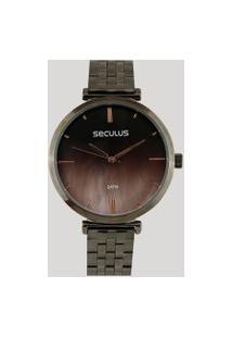 Relógio Analógico Seculus Feminino - 77040Lpskss3 Grafite