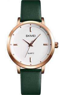 Relógio Skmei Analógico 1457 - Verde E Rosê