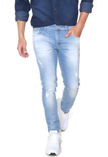 Calça Jeans Guess Skinny Desgastes Azul