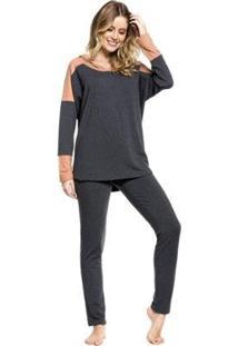 Pijama Inverno Capuz Feminino - Feminino-Mescla Escuro