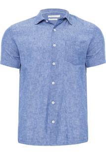Camisa Masculina Linho Office - Azul