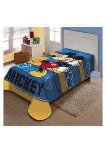 Cobertor Juvenil Jolitex Raschel 1,50Mx2,00M Mickey Feliz