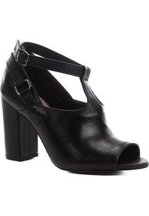 Sandália Couro Shoestock Sandal Boot Feminina - Feminino-Preto