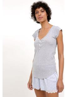 Blusa De Pijama Em Ribana Com Peitilho