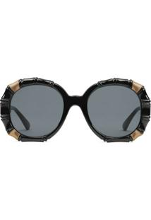 Gucci Eyewear Óculos De Sol Redondo Em Bambú - Preto