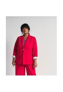 Blazer Liso Estilo Alfaiataria Com Botão Metalizado Curve & Plus Size | Ashua Curve E Plus Size | Vermelho | 52