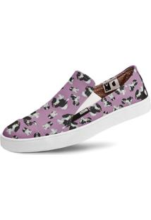 Tênis Usthemp Slip-On Vegano Casual Cavalier King Cocker S. Roxo