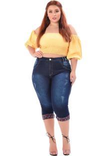 Calça Jeans Latitude Plus Size Cropped Eucenir Azul - Tricae