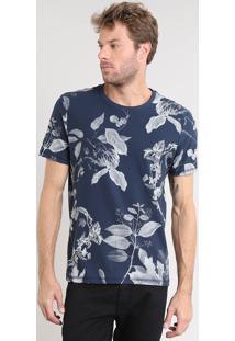 Camiseta Masculina Estampada De Folhagem Manga Curta Gola Careca Azul Marinho