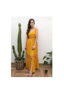 Vestido Hora De Diva Longo Com Guipir Rodado Amarelo Açafrão