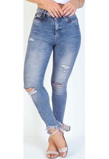 Calça Jeans Cigarrete Efeito Destroyed Sawary