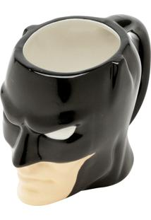 Caneca Porcelana Deco Mould Wb Jl Core Batman Face Preta 16.3X.3X10.9Cm 480Ml Urban