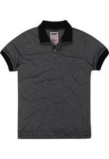 Camisa Polo Khelf Jacquard Preto