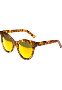 Óculos De Sol Thomaston Turtle Fashion Marrom E Laranja