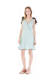 Vestido Curto Decote Redondo Transpasse Costa Azul P