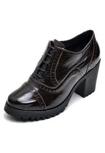 Bota Ankle Boot Feminina Cano Curto Tratorada Oxford Q&A Calçados Preto