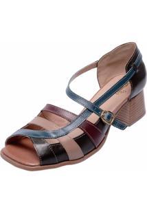 Sandália Salto Baixo Em Couro Miuzzi Multicolorida Marrom E Azul Marinho